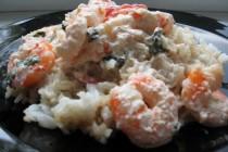 Сливочные креветки с рисом