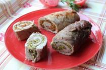 Рулеты из свиной вырезки – с фисташками и пармезаном и с перцами и зеленью