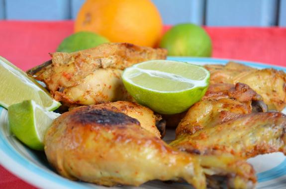 Курица с цитрусовыми и аджикой