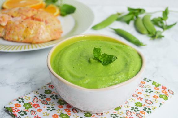 пюре из зеленого горошка с мятой