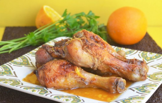 Куриные голени в чесночно-апельсиновом соусе