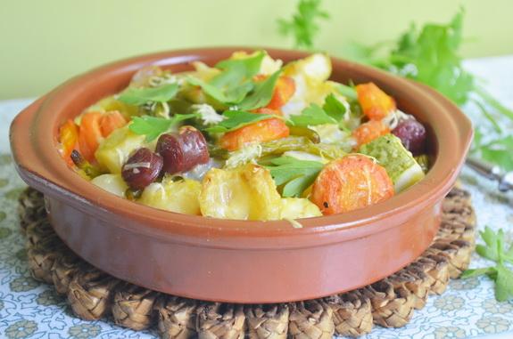 Запеканка с овощами и охотничьими колбасками