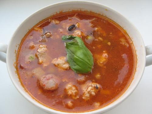 Чили суп с баклажанами и фаршем
