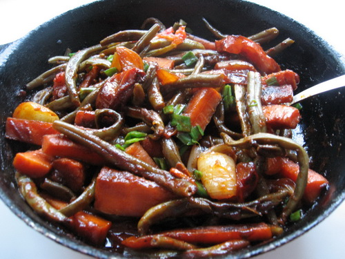 Спаржевая фасоль с овощами
