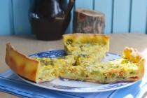 Пирог на творожном тесте с кабачками