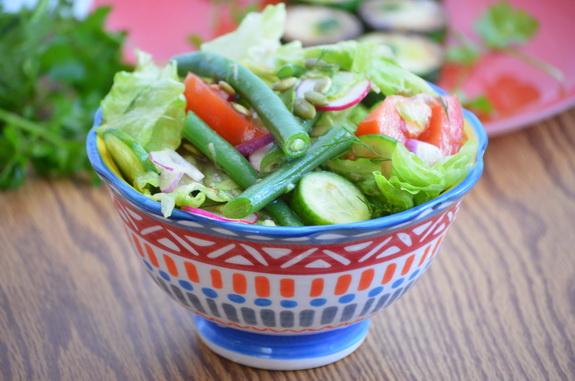 салат со спаржевой фасолью и ароматным маслом
