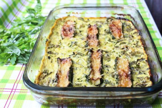 запеканка с кабачками и шпинатом