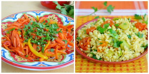 морковь с имбирем и булгур с бобами