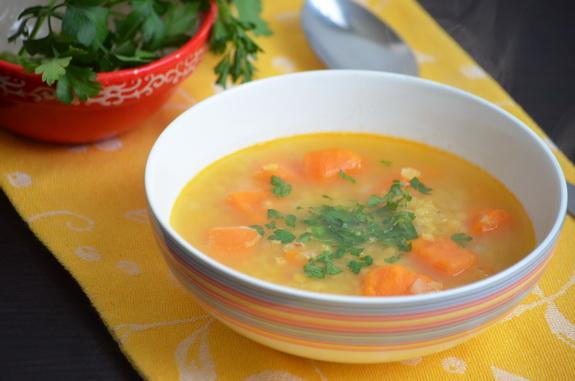 суп с бататом и чечевицей