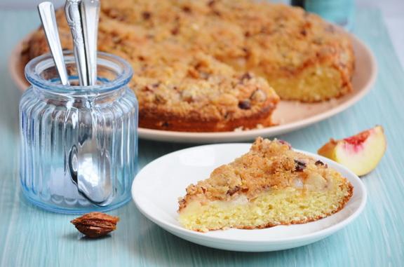 персиковый пирог со штрейзелем